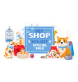 pet shop sale banner with domestic animals dog vector image