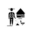 poultry farming black icon sign on vector image