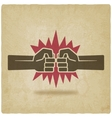 punch fists fight symbol old background vector image vector image