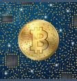 realistic bitcoin symbol on digital pattern vector image vector image