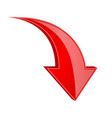 red down arrow 3d shiny sign vector image