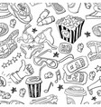 seamless pattern with hand drawn cinema theme vector image vector image