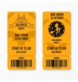 Set of halloween ticket on holiday party with vector image vector image