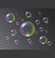 soap bubbles foamy realistic with rainbow colors vector image vector image