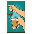 The bartender pours a glass of beer vector image