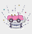 transportation pink car patches design vector image vector image