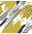 trendy seamless pattern with brush strokes memphis vector image vector image