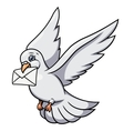 White pigeon is carrying letter 2 vector image vector image