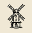 windmill logo or label agriculture farm bakery vector image vector image