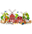 windmill with animal farm set isolated vector image