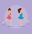 woman dancing with sports icons vector image