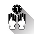 silhouette hands holding coin black icon vector image