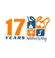 17 year gift box ribbon anniversary vector image vector image