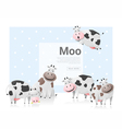 Animal background with cows vector image
