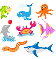aquatic animals set vector image vector image