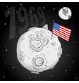 astronaut whit flag usa on the moon bw vector image vector image