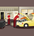 auto mechanic working on a car vector image