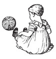 baby girl and a ball in this picture vintage vector image vector image