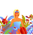 blonde girl in sunglasses vector image vector image