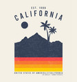 california t-shirt with palm trees and mountains vector image vector image