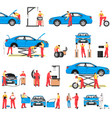 car repairement service with professional workers vector image