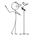 cartoon man or singer singing song on stage to vector image