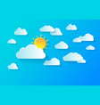 clear summer sky with white fluffy clouds summer vector image vector image
