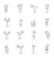 Cocktail icon set outline vector image vector image