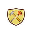 Crossed Hammer Plunger Crest Cartoon vector image vector image