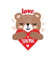 cute little teddy bear holding heart vector image vector image