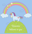 cute unicorn and rainbow with stars and clouds vector image vector image