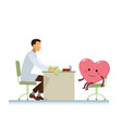 doctor with healthy cheerful heart symbol cartoon vector image