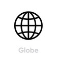 globe icon editable outline vector image