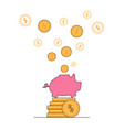 gold dollars fly out of pink pig piggy bank money vector image