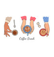 hands holding coffee cups top view female hand vector image vector image