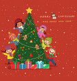 happy new year and merry christmas card design vector image vector image