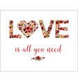 Happy Valentines Day Card with Floral Love vector image