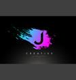 j artistic brush letter logo design in purple vector image