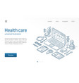 medicine healthcare modern isometric line vector image