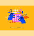 music studio dj cartoon icon concept isolated vector image
