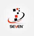 number seven swoosh logo sign symbol icon vector image