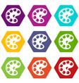 palette icons set 9 vector image