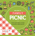 picnic invitation placard banner card with thin vector image