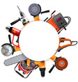 power tools round frame vector image vector image