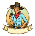 Pretty Cowgirl holding smoking gun vector image