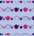 purple teapot flower seamless pattern background vector image vector image