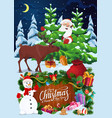 santa snowman and deer with christmas tree gifts vector image vector image