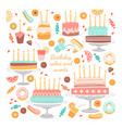 set birthday cakes and sweets vector image vector image
