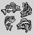 set cartoon largemouth bass fish vector image