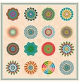 Set colored floral circular elements ornament vector image